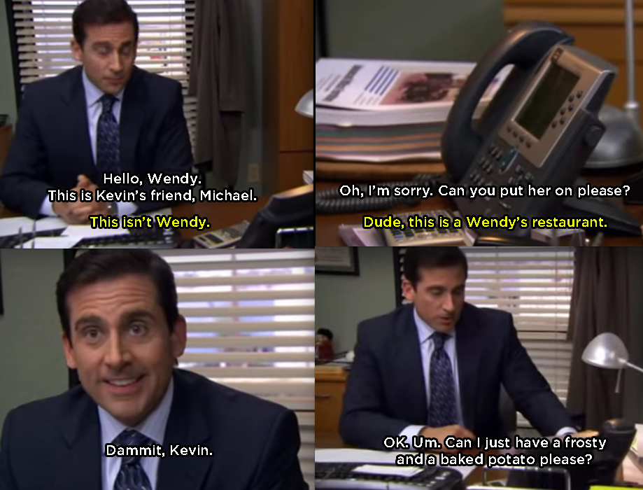 When Kevin Tried Setting Michael Up With His Friend Wendy The Office Show Office Humor The Office