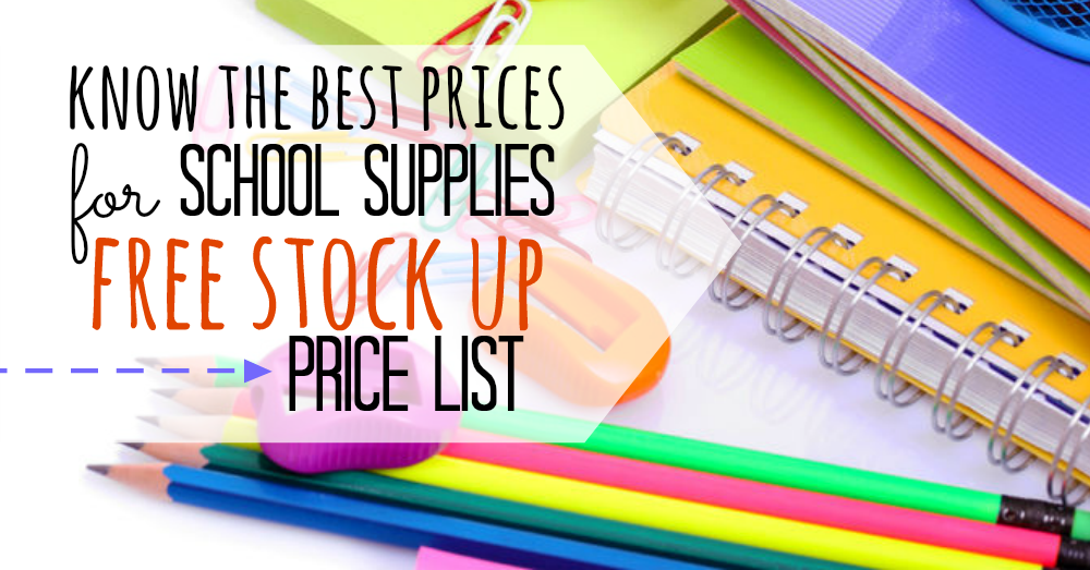 graphic relating to School Supply Printable Coupons referred to as Back again in direction of university Products listing - Recognize the Suitable rates