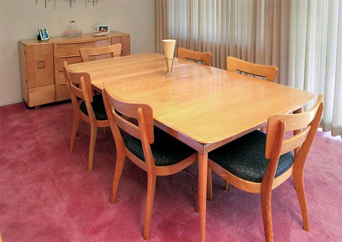 a birch heywood-wakefield dining room set, c.1956. originally a