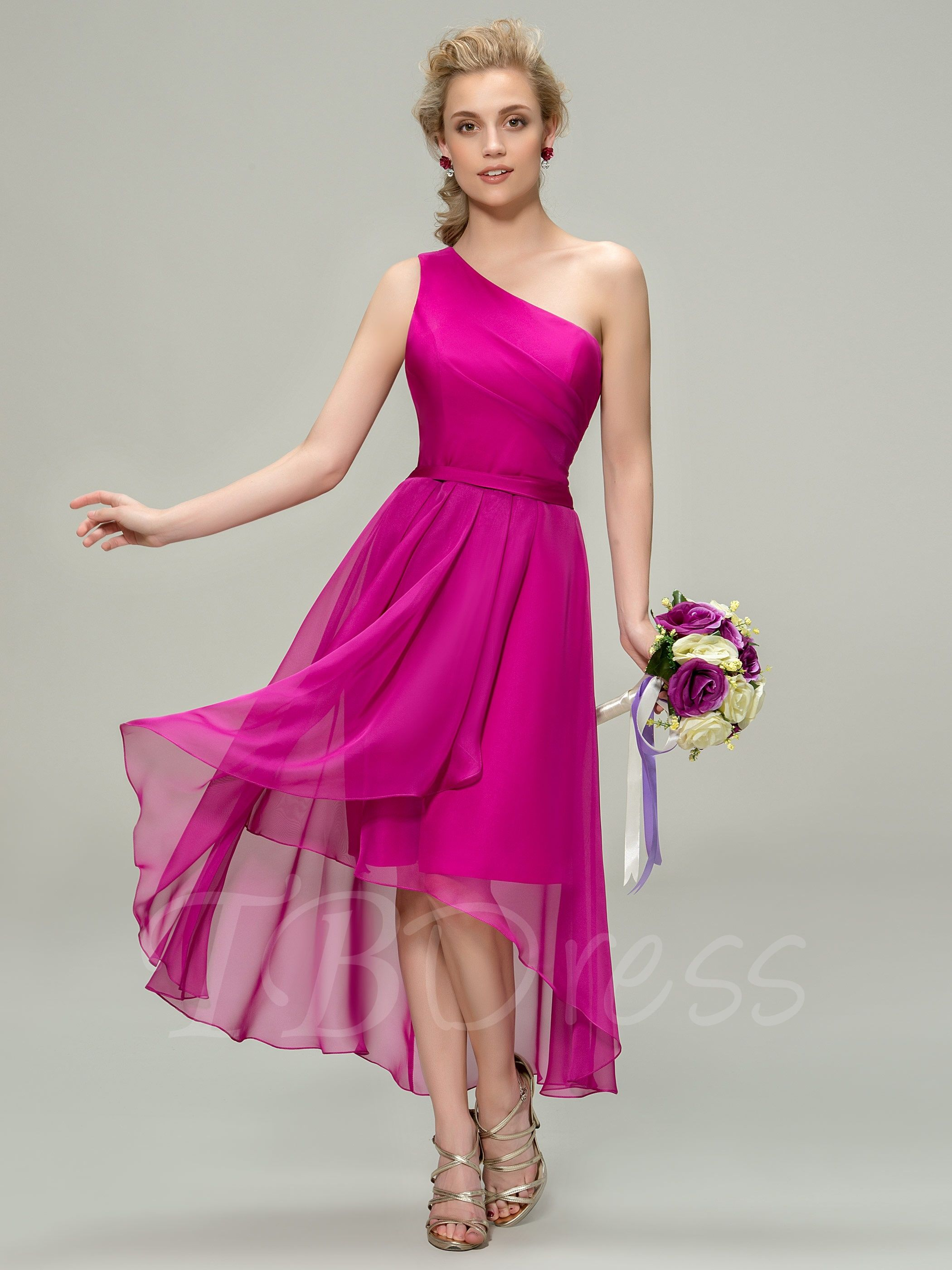 Asymmetry Sashes One Shoulder Bridesmaid Dress | Pinterest