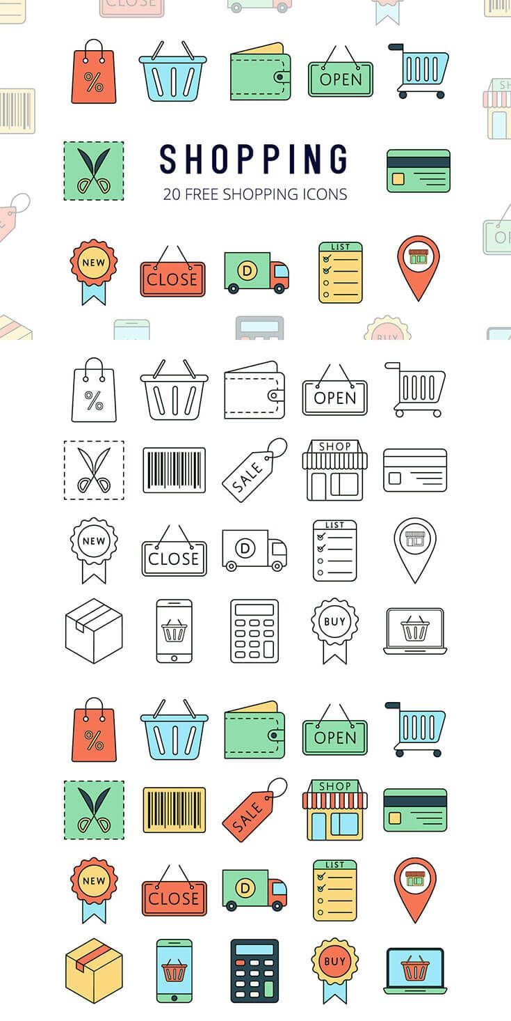 Free Shopping Vector Icon Set #softwaredesign