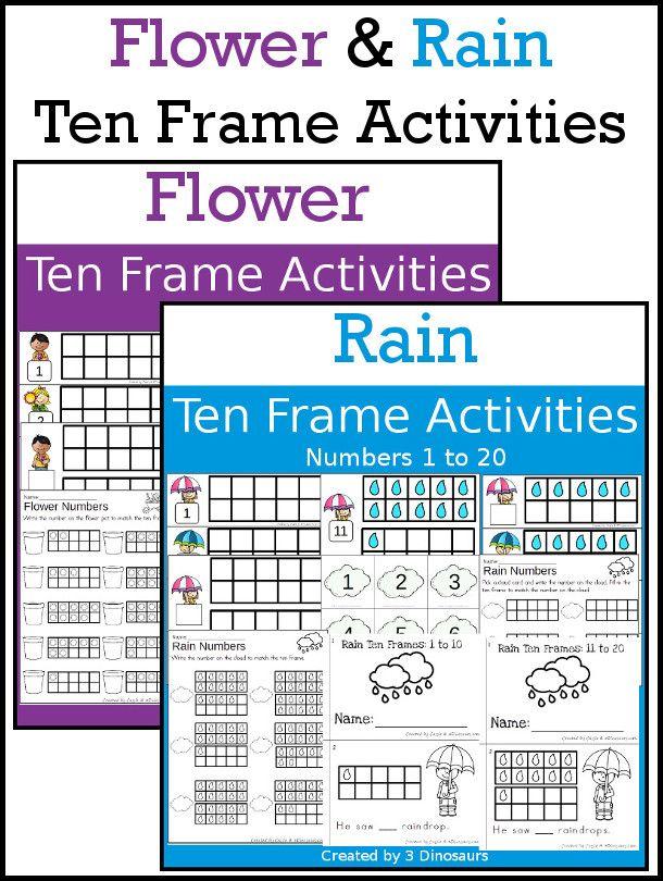 Flower & Rain Themed Ten Frame Printables: No-Prep & Hands-On - 168 ...
