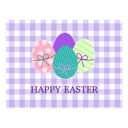 Happy Easter Country Lavender Gingham Pattern Postcard  Happy Easter