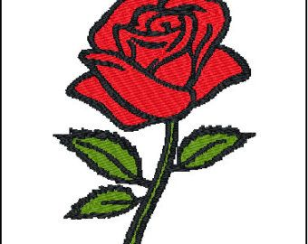 Rose Flower Roses Floral Single Rose By Designbythestitches Rose Embroidery Designs Embroidery Designs Rose Embroidery