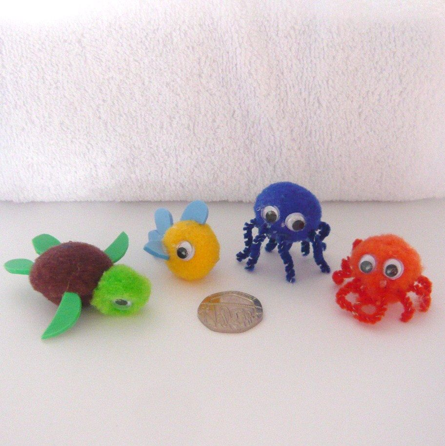 Items similar to Pom Pom Terry The Turtle, Franklin The Fish, Oliver The Octopus And Connor The Crab Sea Life Set Of FOUR. on Etsy
