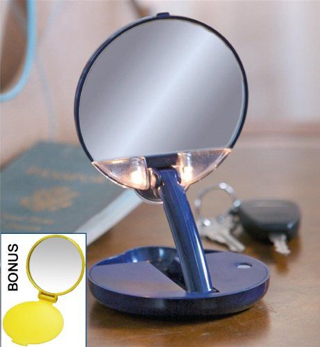 Lighted Adjustable 15x Travel Mirror Compact In Blue Case Body