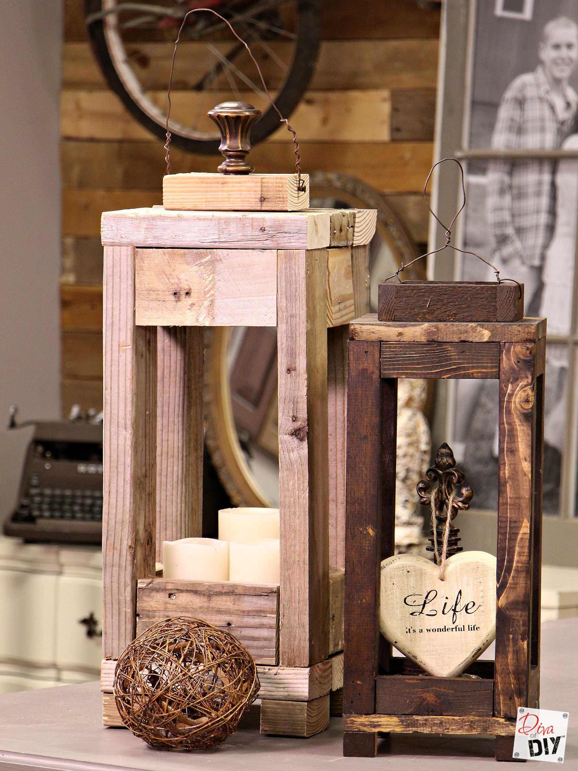 Easy Outdoor Decor How To Make Lanterns From Scrap Wood  # Muebles Faciles De Hacer En Madera