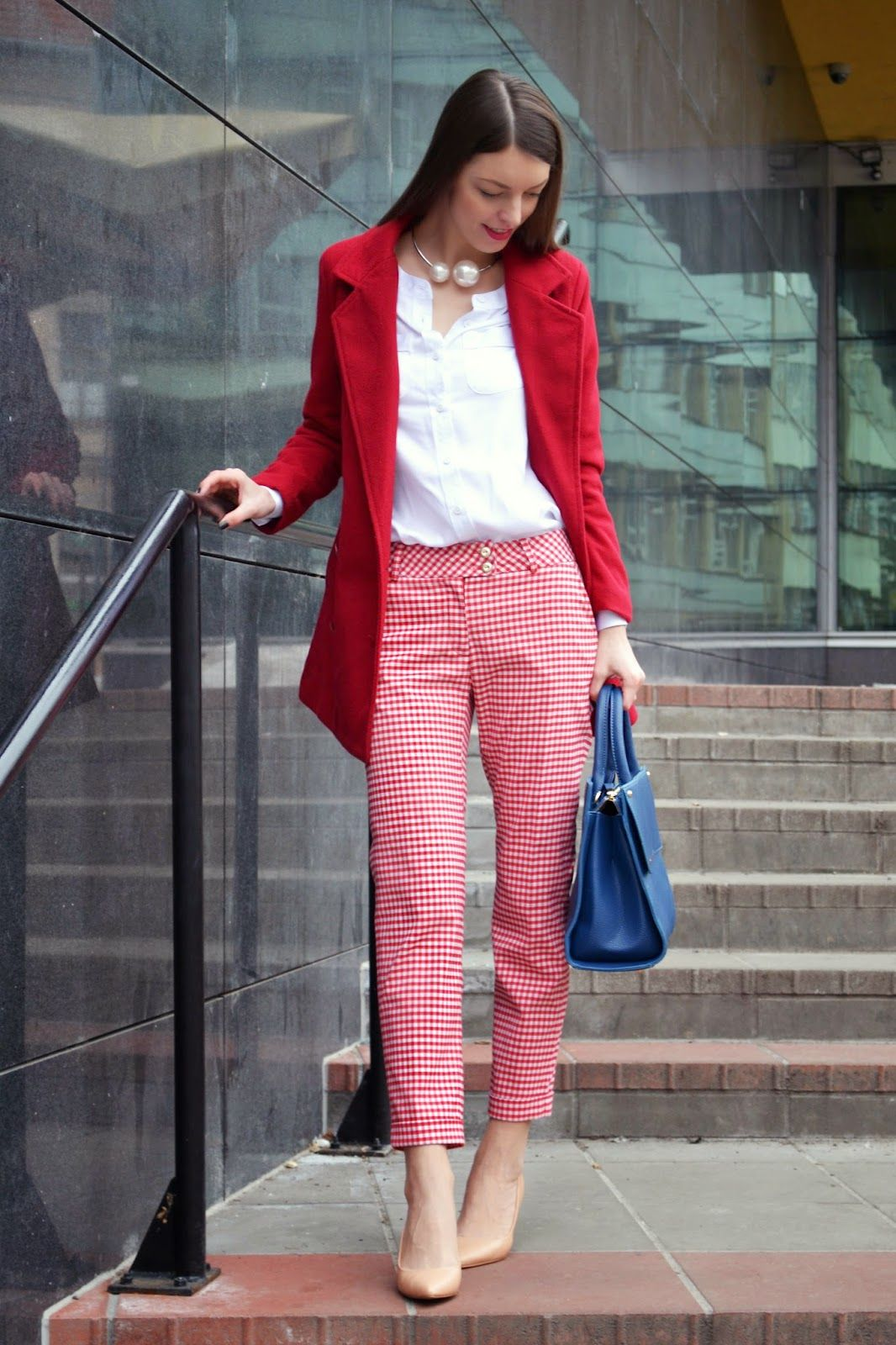 76b1b3f70a1 Mademoiselle IVA  red gingham trousers and navy blue handbag