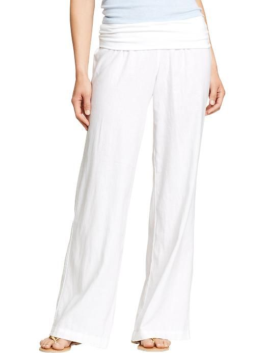 5cad2c2cd6420 Old Navy | Women's Fold-Over Linen-Blend Pants | clothes | Pants ...