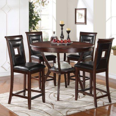 Benzara Elegant Wooden 5 Piece Round Counter Height Dining Table Set Counter Height Dining Table Set Counter Height Dining Sets Counter Height Dining Table