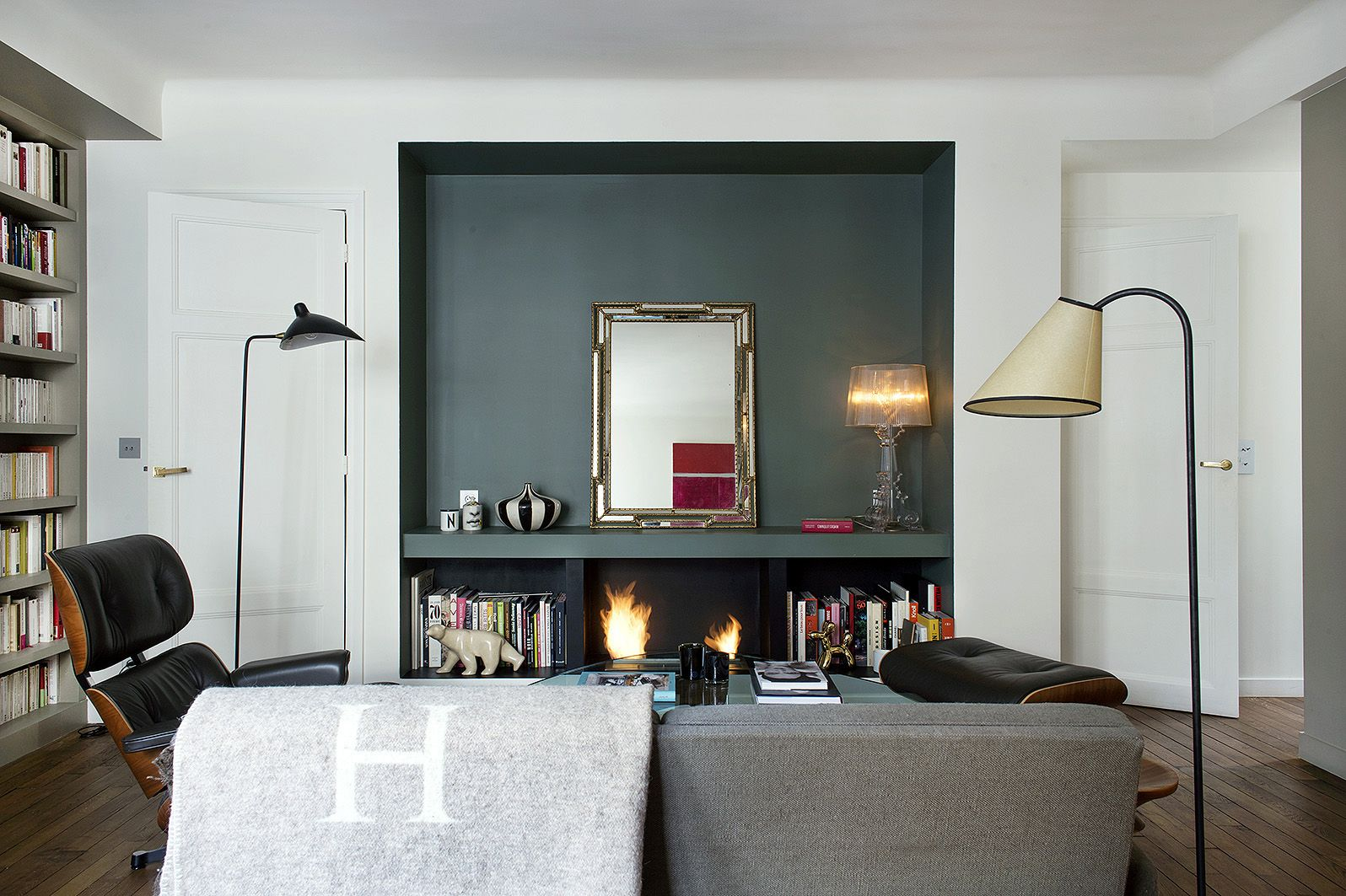 Small Paris Apartment Living Room With Fireplace Niche Designed By Philippe Harden