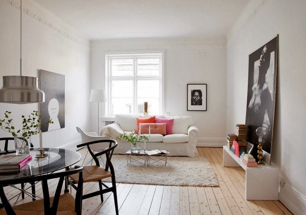 Apartments Interior Mesmerizing Living Room Scandinavian House Design With Art Photography Frame Wall Decal And Minimalist Black Dining