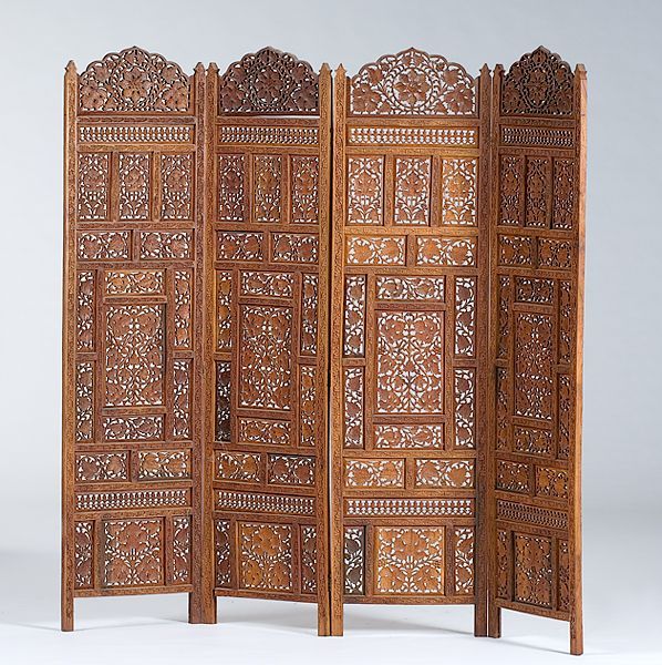 Indian Carved Folding Screen Divide Conquer