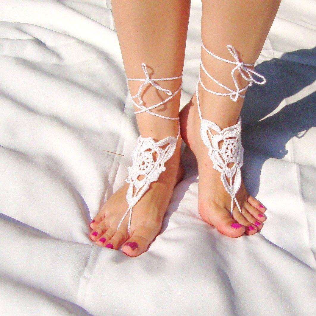 Crochet Barefoot Sandals, Anklet, White Cotton Bridal Shoe