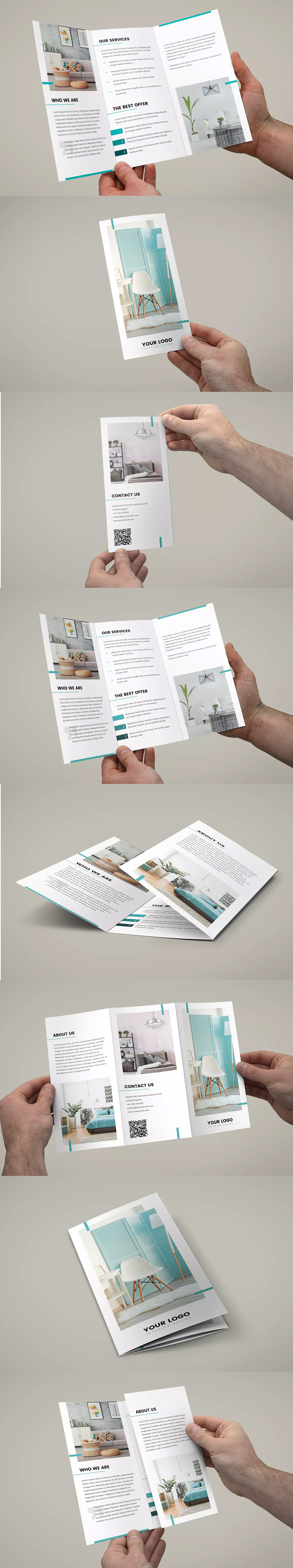 interior design tri fold brochure template psd a4 and us letter size