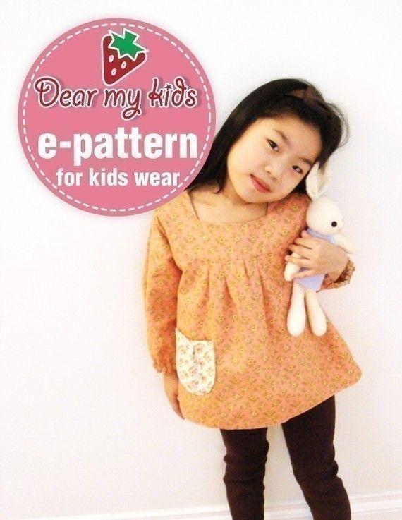 Reversible tunic top vs. Dress (12 months upto age 6)PDF patterns