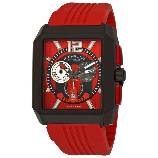 847988001281_Stuhrling_Swiss_Chronograph_Watch__Red_Silicon_Rubber_Strap_Band_Red_Dial_Black_PVD_Bezel_(GP11752).jpg (550×550)