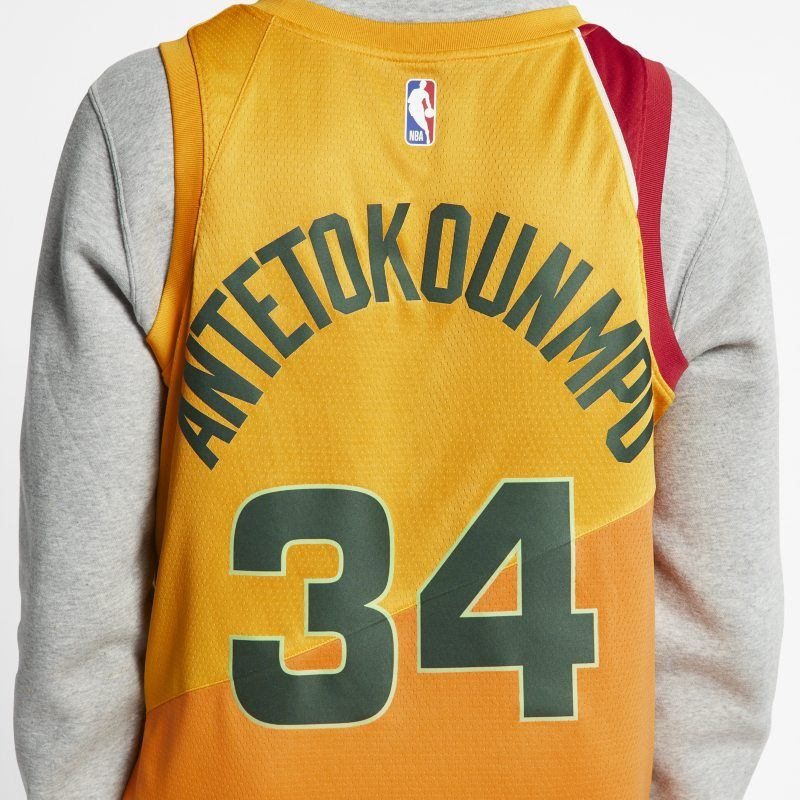 39df19312 Giannis Antetokounmpo City Edition Swingman (Milwaukee Bucks) Men's Nike NBA  Connected Jersey - Gold