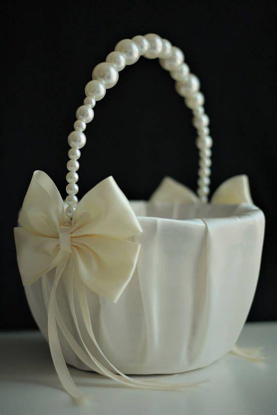 Ivory Pearl Flower Basket Flower Girl Basket Wedding supplies
