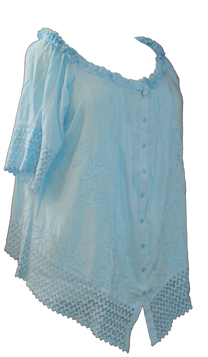 Gretty Zueger Turquoise Cap Sleeve Plus Size Tunic accented with pleats, netting lace and embroidery. Made of 100% Peruvian cotton. This upscale top is available in women's sizes 1X, 2X, or 3X