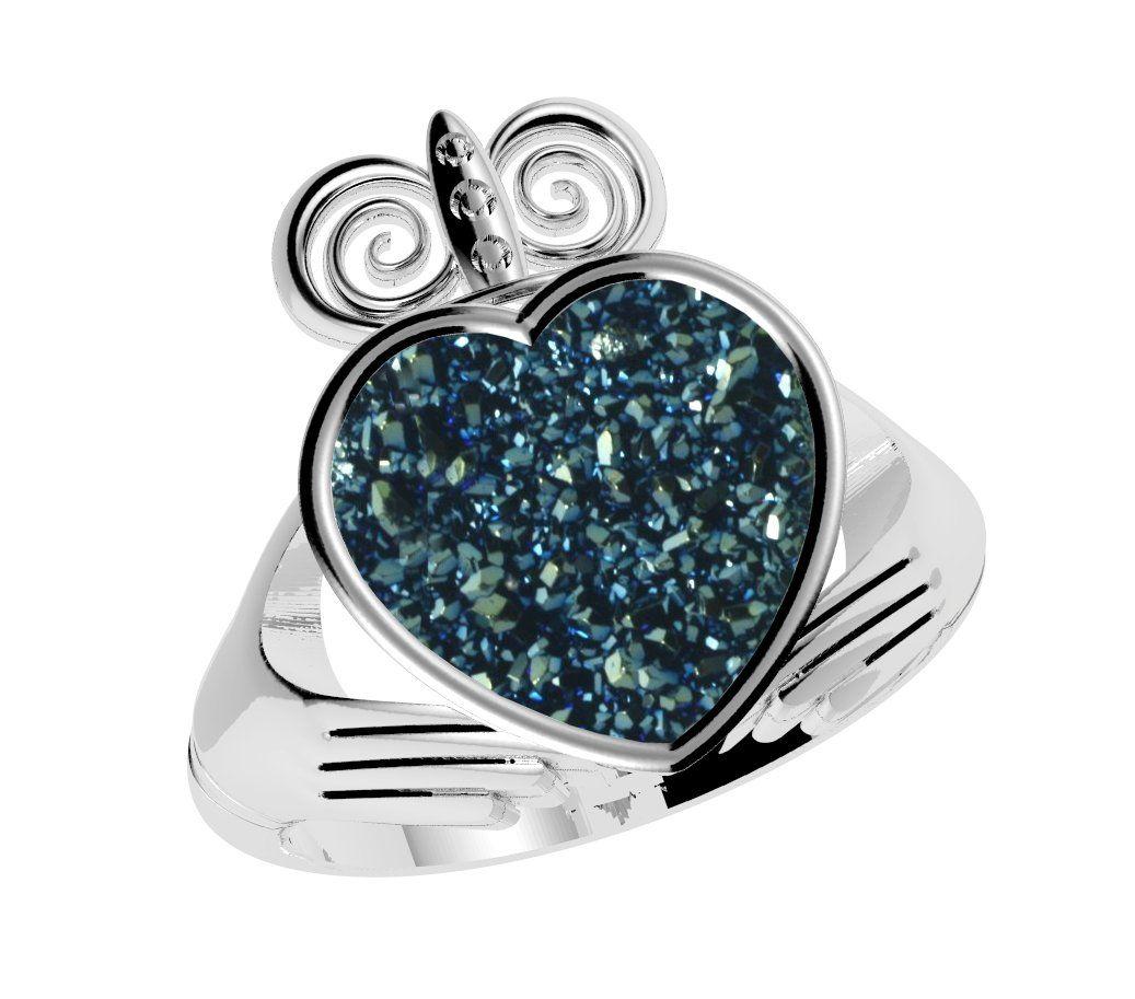 Claddagh ring drusy blue claddagh rings irish jewelry