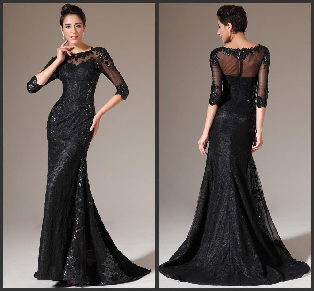 Maxi evening dresses sexy see through black scoop neckline