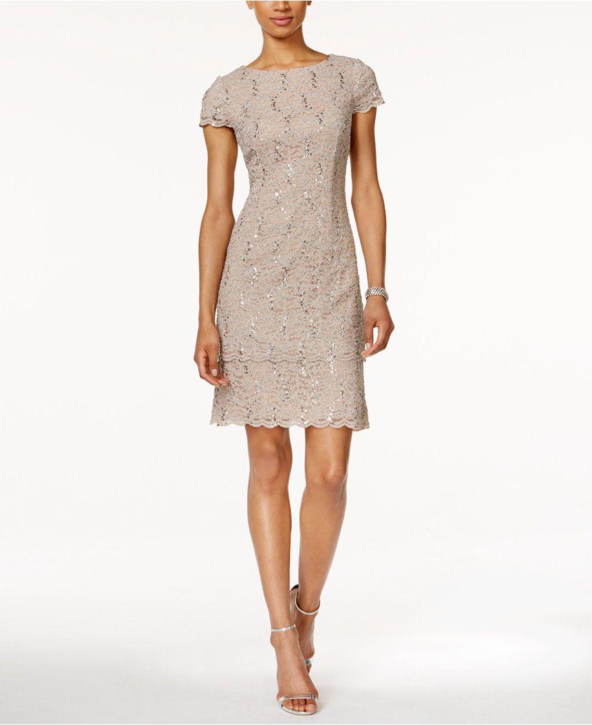 Alex Evenings Petite Layered Sequined Lace Sheath Dress - Dresses ...
