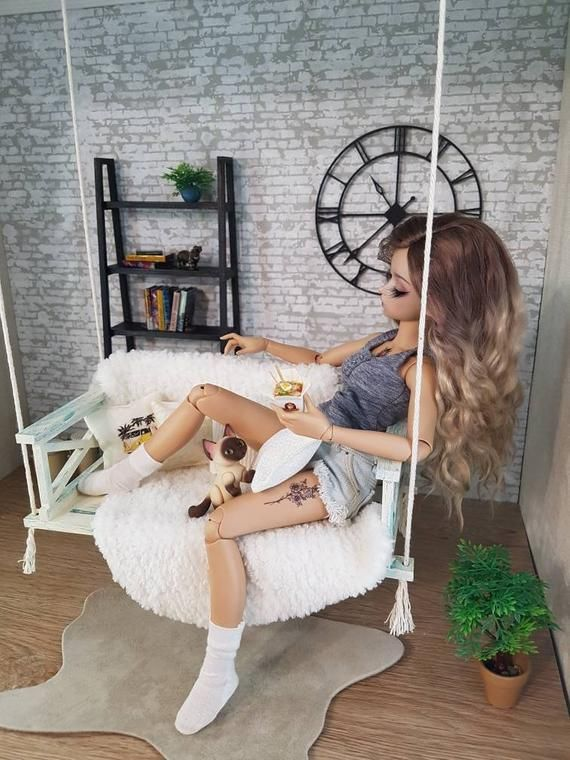 Miniature garden swing, doll swing, doll furniture, BJD MSD furniture, diorama, roombox , dollhouse