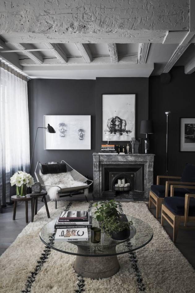 Un intérieurs aux murs noirs - Blog Déco Living spaces, Decoration