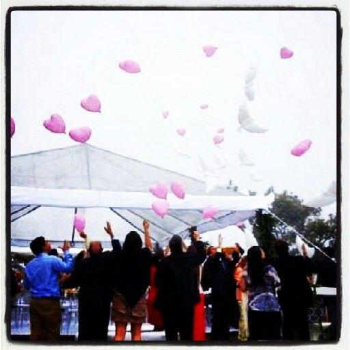 En esta boda civil en Galipan elevamos Globos Bio en forma de palomas y corazones