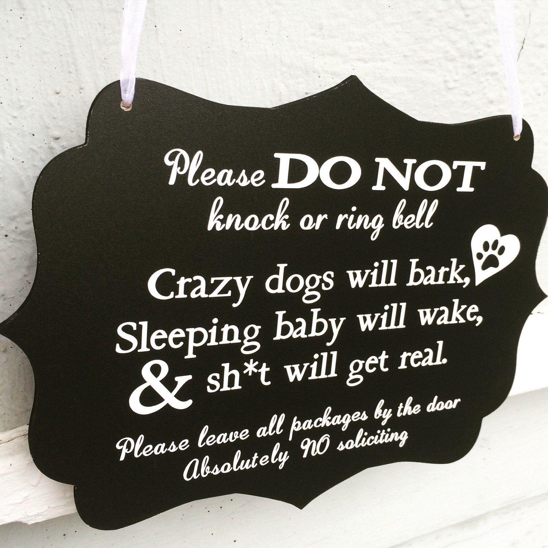 Sleeping Baby Sign Barking Dogs Sign Do Not Knock Sign Sleeping