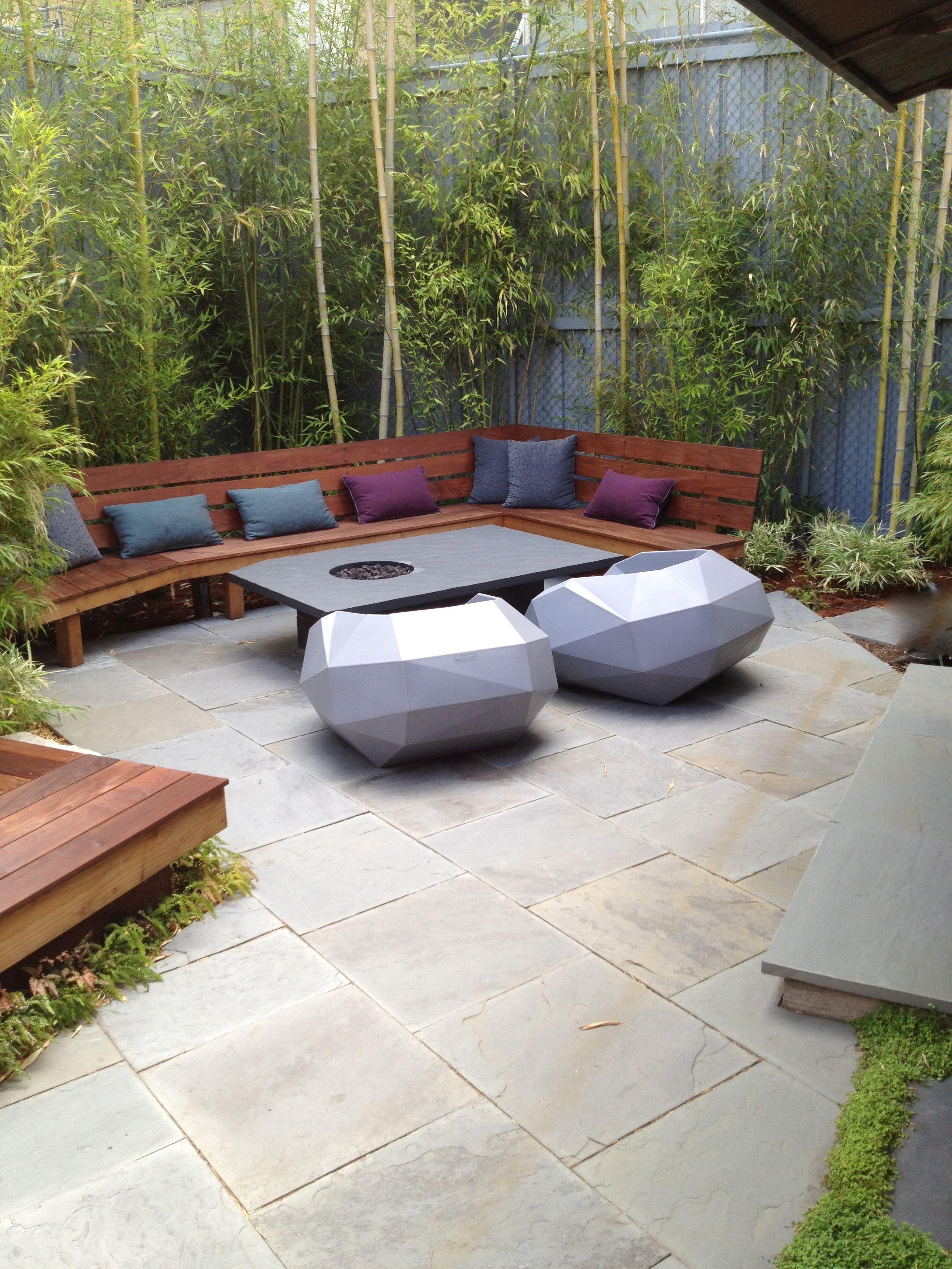 Bamboo, bench and slate firepit // Sculpt Gardens | VERTICAL GARDENS ...
