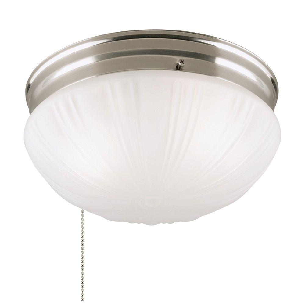 Westinghouse 2 Light Brushed Nickel Flush Mount Interior With Pull Chain And Frosted Fluted Glass 6721000 The Home Depot Flush Mount Ceiling Lights Bathroom Hanging Lights Closet Light Fixtures