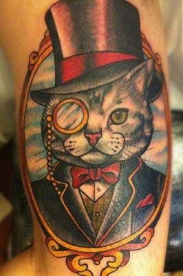 Dandy Cat Tattoo Cat Portrait Tattoos Cat Tattoo Designs Cute Cat Tattoo