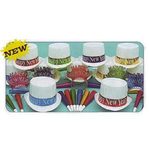 Calypso New Year Party Kit for 50 People. Includes:   25 Cellophane Top Hats with Happy New Year Band   25 Sparkling Glitter Tiaras   50 Assorted Colour Foil Horns