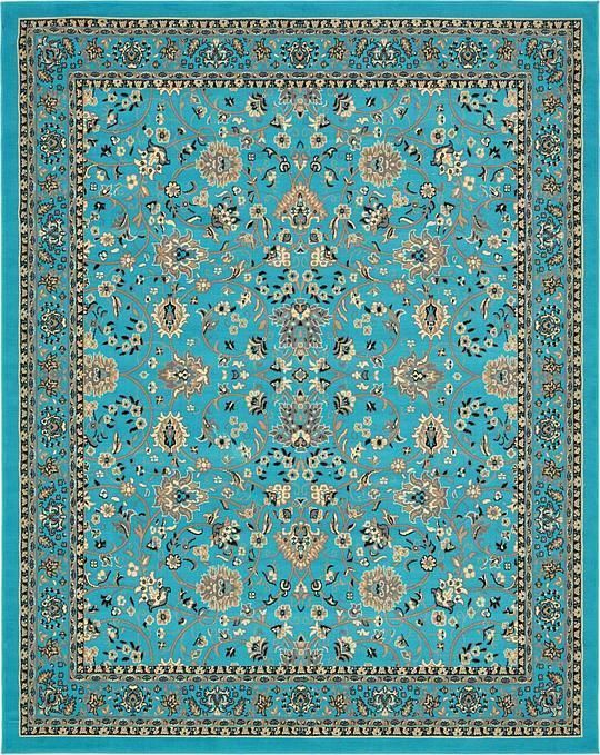 Turquoise 8 X 10 Kashan Design Rug Area Rugs Square Area Rugs Unique Loom Vintage Area Rugs
