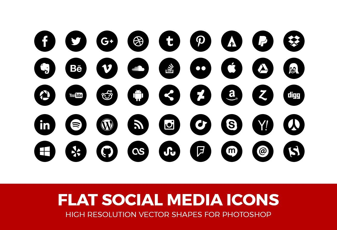 Simple Social Media Icons Circle #Shapes#change#colors#PSD