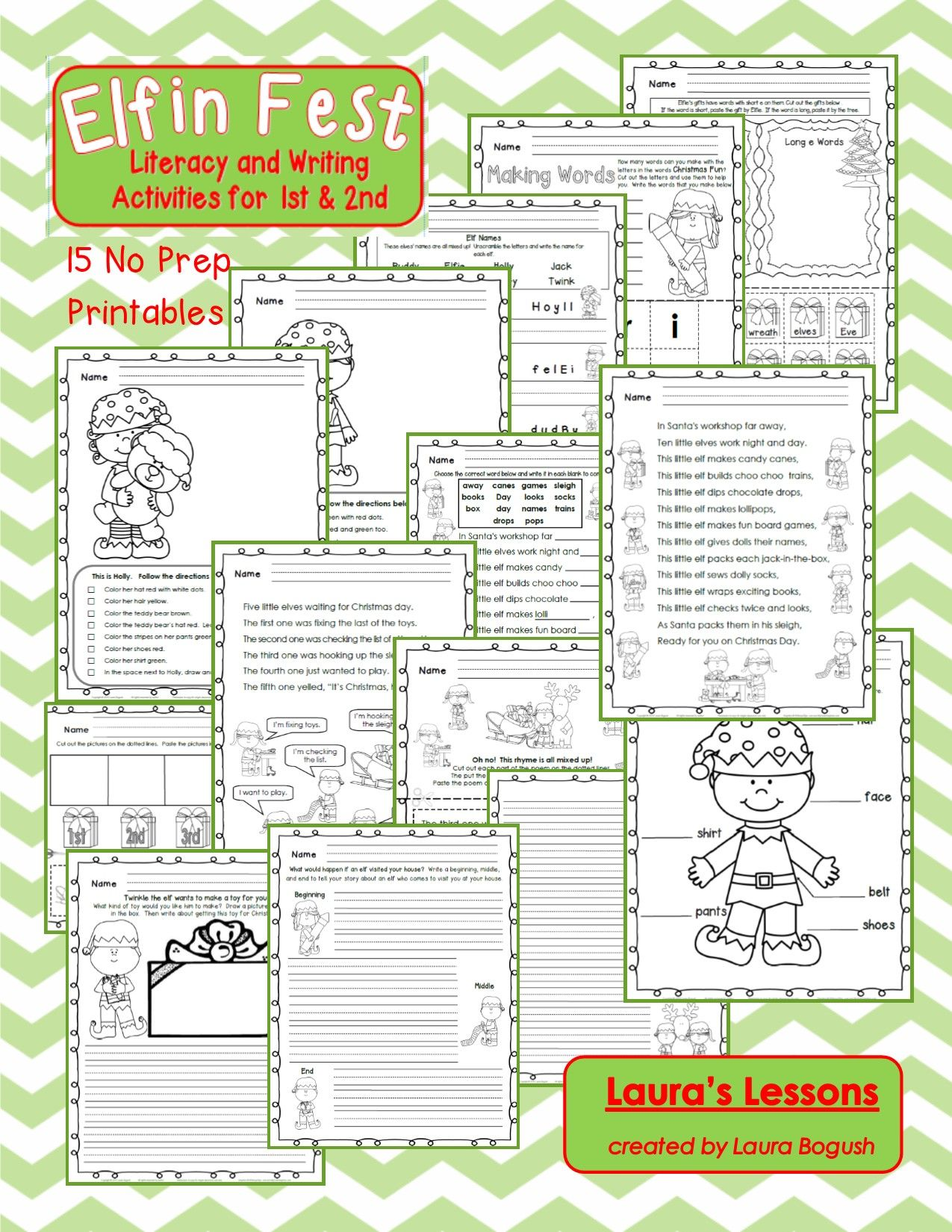 Christmas Reading And Writing Activities Elf In Fest For