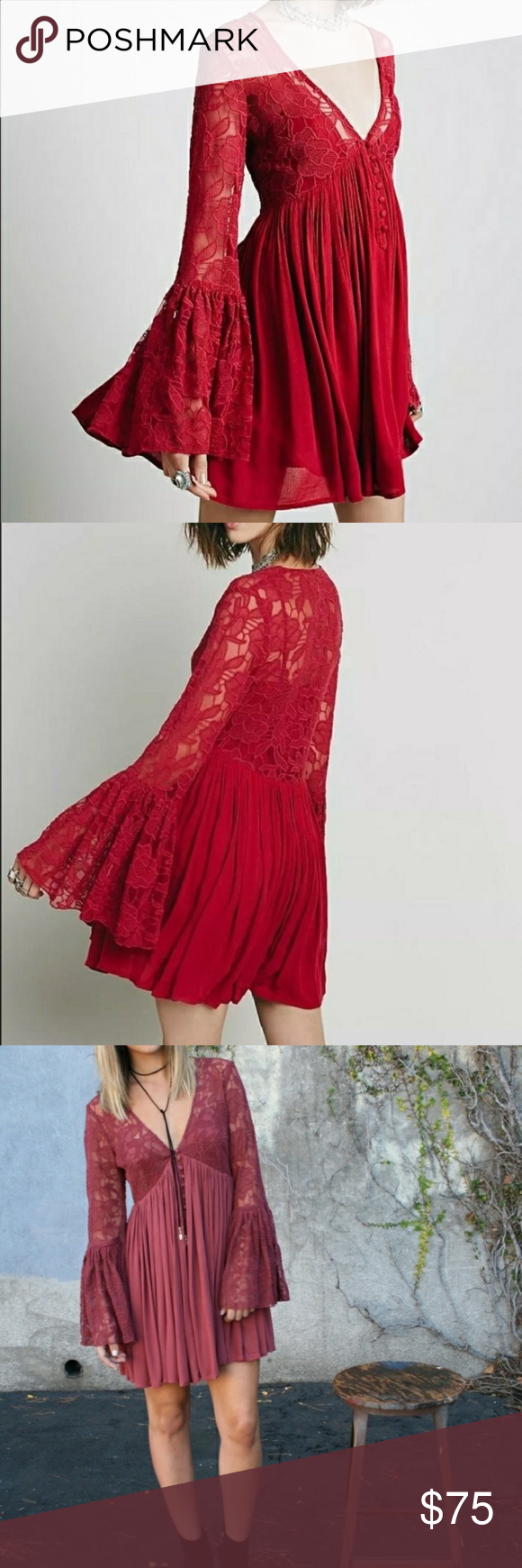 83941642803 Free People With Love From India Lace Dress Beautiful dark pink red sheer lace  dress with long bell sleeves. Button front. Detachable slip inside. Size XS.