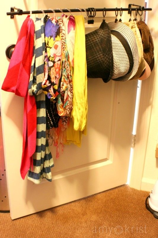 curtain rod to the back of the closet door and used acrylic shower ...