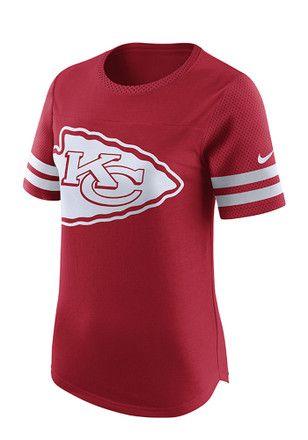 ea4ee8d9214 Nike KC Chiefs Womens Gear Up Modern Fan Red Scoop T-Shirt   NFL ...