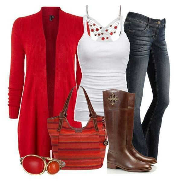 Love this long red sweater! And those boots! | Fashion Fun - Just ...