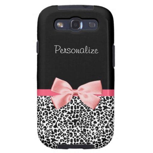 samsung galaxy s3 snap on  leopard print case | ... Black And White Leopard Print Pink Ribbon Samsung Galaxy SIII Case