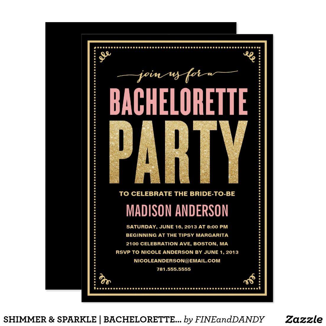 SHIMMER & SPARKLE   BACHELORETTE PARTY INVITATION