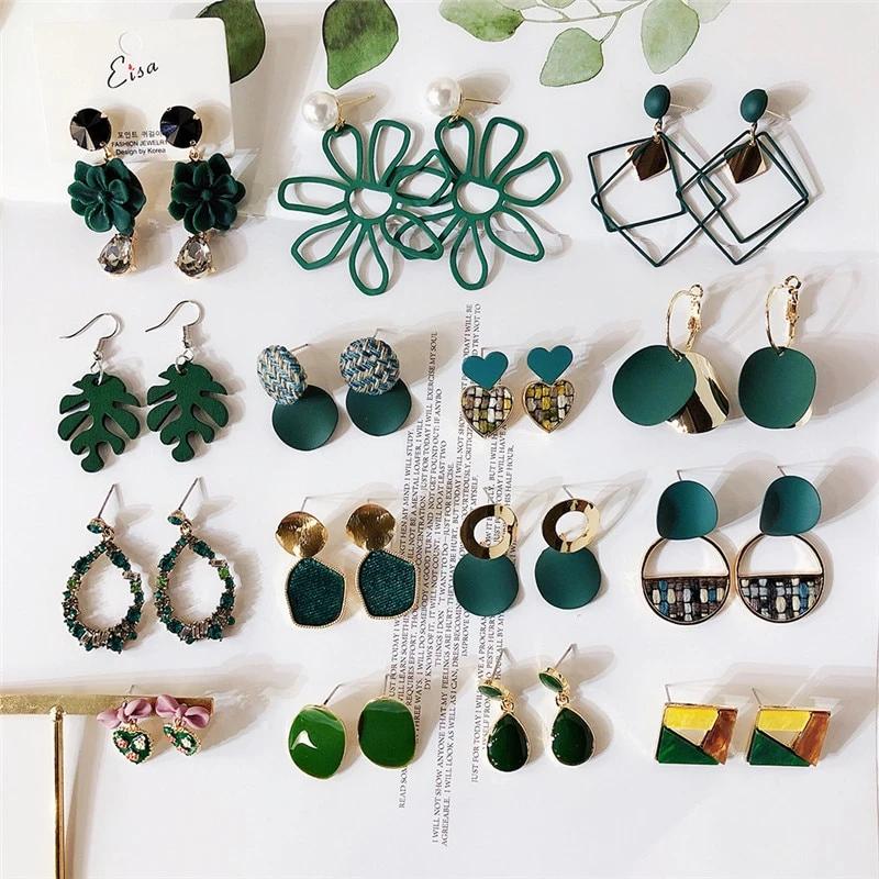 Korean Green Leaf Geometric Heart 2019 Fall Winter Drop Dangle Earrings Collection Sets Women Fashion Jewelry Wholesale-DDE   Touchy Style