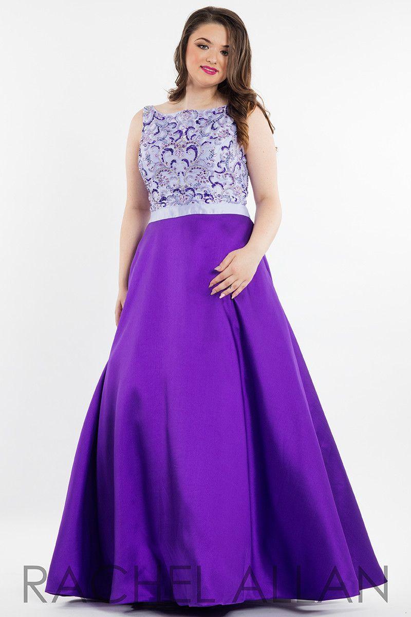 Rachel Allan (PLUS) 7835 Purple High Neck Beaded Ball Gown Prom Dress