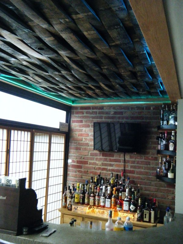 Bourbon Barrel Weave Pattern Ceiling Custom Bar Private
