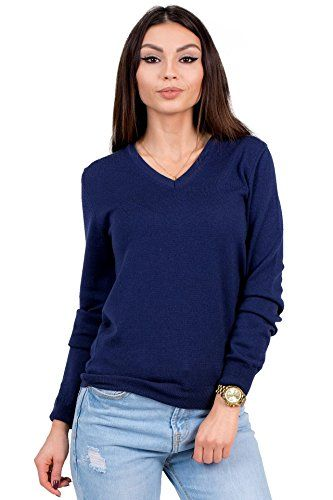 e025bd68a10b04 KNITTONS Womens 100 Italian Merino Wool Classic VNeck Sweater Long Sleeve  Pullover Small Navy    BEST VALUE BUY on Amazon  PulloverSweaters