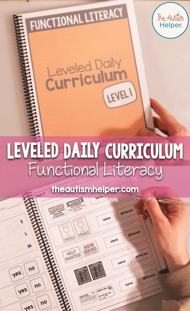 Functional Literacy Leveled Daily Curriculum Level 1 Functional Literacy Literacy Autism Teaching