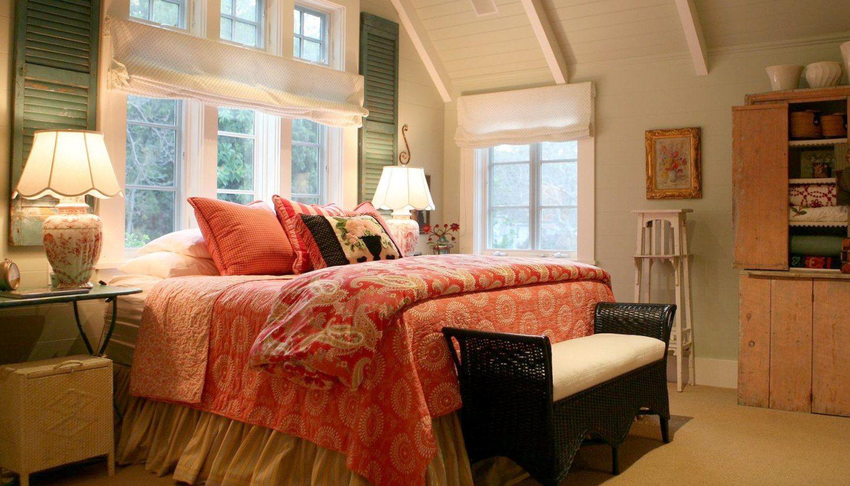 Bed under window  cheviot hills farmhouse u alison kandler interior design